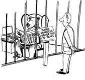 Karikatür çizim adam seyir için bir kafes içinde bir ayı — Stok fotoğraf