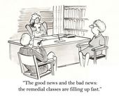 """The good news and the bad news: the remedial classes are filling up fast"" — Stock Photo"