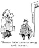 The team leader conserved energy at odd moments — Stock Photo