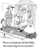 Cartoon illustration creator of the web — Stock Photo