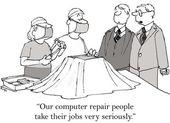 Cartoon illustration computer repair specialists — Stock Photo