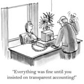 Man complains Secretary. Cartoon illustration — Stock Photo
