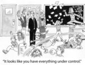 Chaos in the classroom. Cartoon illustration — Stok fotoğraf
