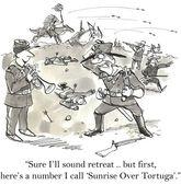 Cartoon illustration accident on the war — Stock Photo