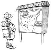 Cartoon illustration man looking at the map — Stock Photo