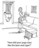 Man hanging upside down. Cartoon illustration — Stockfoto