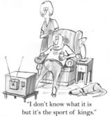 Man watching television. Cartoon illustration — Stock Photo