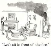Cartoon illustration. Woman offers a man to sit in front of the fireplace — Stock Photo