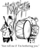 A man with a drum prevents hunting. Cartoon illustration — Stock Photo