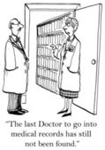 Two doctors before filing cabinet. Cartoon illustration — Stockfoto