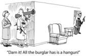 Robber with a gun in the house. Cartoon illustration — Stock Photo