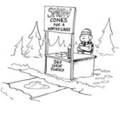 Boy sells snow cones. Cartoon illustration — Stock Photo