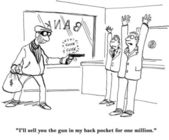 Cartoon illustration. Bank robbery — Stock Photo