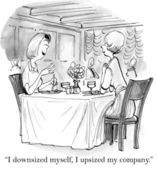 Cartoon illustration. Two women talking in a restaurant — Stock Photo