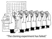 Cartoon illustration. Cloning experiment — 图库照片