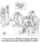Cartoon illustration. Woman in dream research lab — Stok fotoğraf