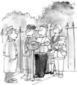 Cartoon illustration. Choir sings for money — Stock Photo