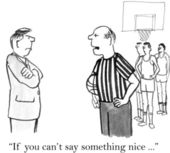 Cartoon illustration. Judge makes an observation coach — Stock Photo