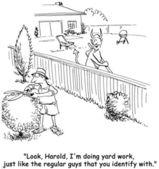 Cartoon illustration. Neighbors ennoble their yards — Stock Photo