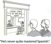 Boss trying to speak Spanish — Stok fotoğraf