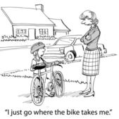 Boy says to his mother where he rode his bike — Stock Photo