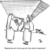 Cartoon illustration. Pyramid upside down — Stock Photo
