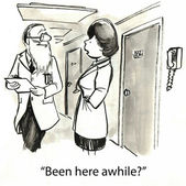 卡通插图。医生和他的助手 — 图库照片