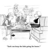 Cartoon illustration. Man turns his children on both hands — Stock Photo