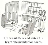 Cartoon illustration.Man sitting and watching his heart rate monitor — Stock Photo