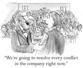 Cartoon illustration. Businessmen are going to  resolve every conflict in the company — Stock Photo