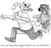 Guardian angel advises to get away from an angry bear — Stock Photo