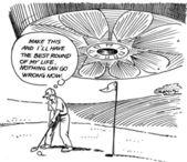 Mężczyzna natomiast duże ufo leci na niego pole golfowe — Zdjęcie stockowe