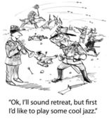 Soldat spielt trompete während eines kampfes — Stockfoto
