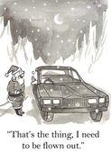 Santa Claus asks him a ride on a car — Stock Photo