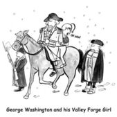 Historical figure, George Washington, has a valley girl riding his horse with him at Valley Forge — Stock Photo