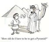 Boy and woman near Egyptian pyramids. — Stock Photo