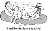 Family tries to stay passive while adrift — Stock Photo