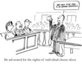 Defending individual cheese slices in a court of law. — Foto de Stock
