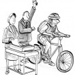 Fastest Communication Method of fax and bike — Stock Photo #32605875