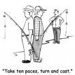 Stock Photo: Cartoon illustration. Men fishing. Take ten paces, turn and cast.