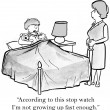 Cartoon illustration. Mom puts baby in bed — Stock Photo