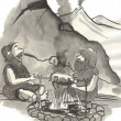 Stock Photo: Cartoon illustration. Prehistoric people cook food on fire