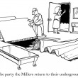 Cartoon illustration. The Millers have an underground safe room — Stock Photo