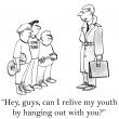 Cartoon illustration. Man appeals to teenagers. — Foto de Stock