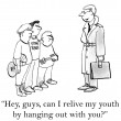 Cartoon illustration. Man appeals to teenagers. — Photo