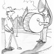 Cartoon illustration. One man band at the golf court — 图库照片