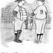 Stock Photo: Cartoon illustration. Baseball players discuss strategy