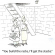 Cartoon illustration. Woman with the builder in the basement — Stock Photo