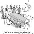 Cartoon illustration. People at the funeral — Stock Photo