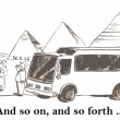 Cartoon illustration. Travel bus with tourists — Stock Photo